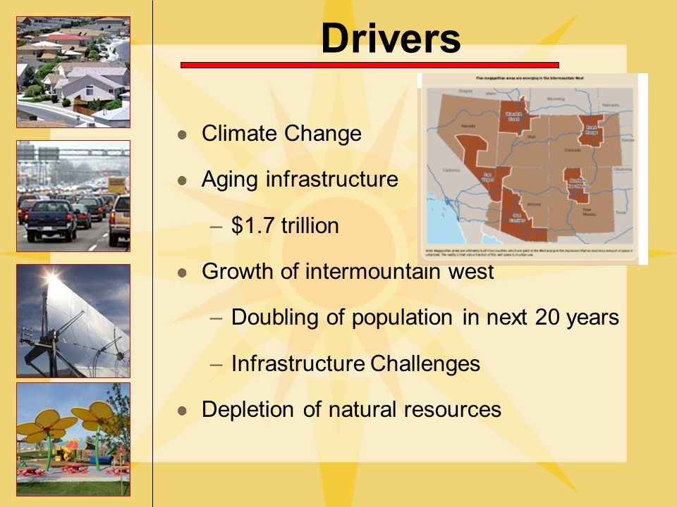 Drivers Climate Change Aging infrastructure –$1.7 trillion Growth of intermountain west –Doubling of population in next 20 years –Infrastructure Challenges Depletion of natural resources