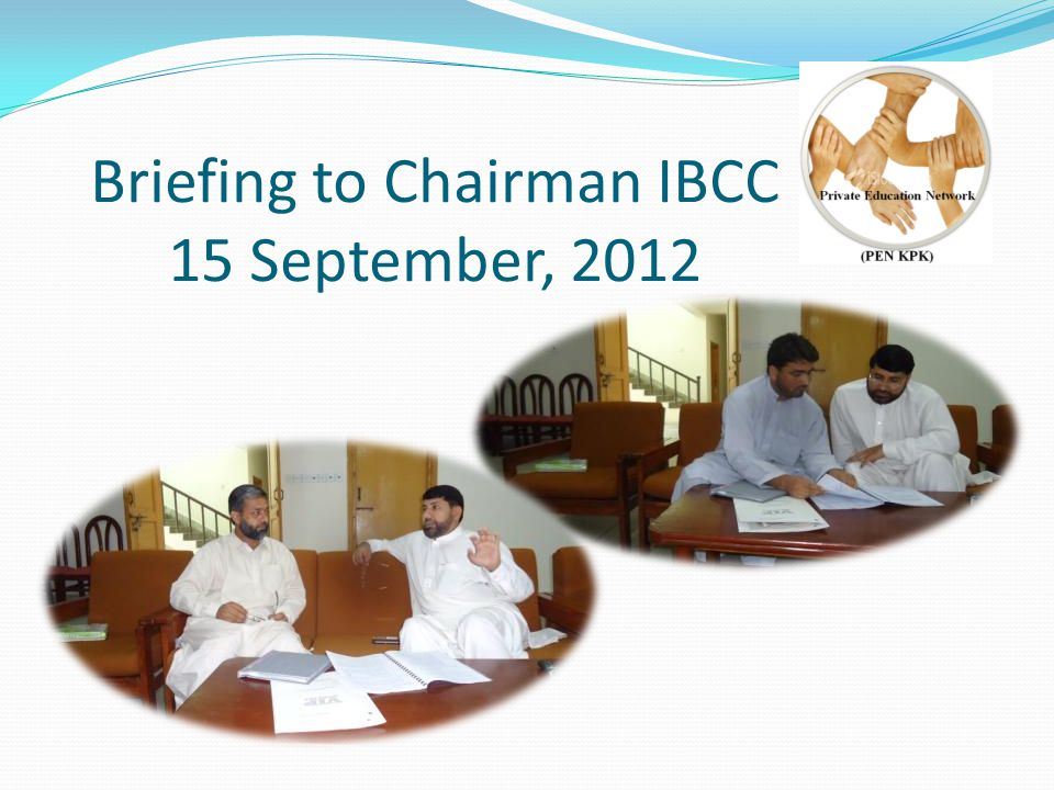 Briefing to Chairman IBCC 15 September, 2012