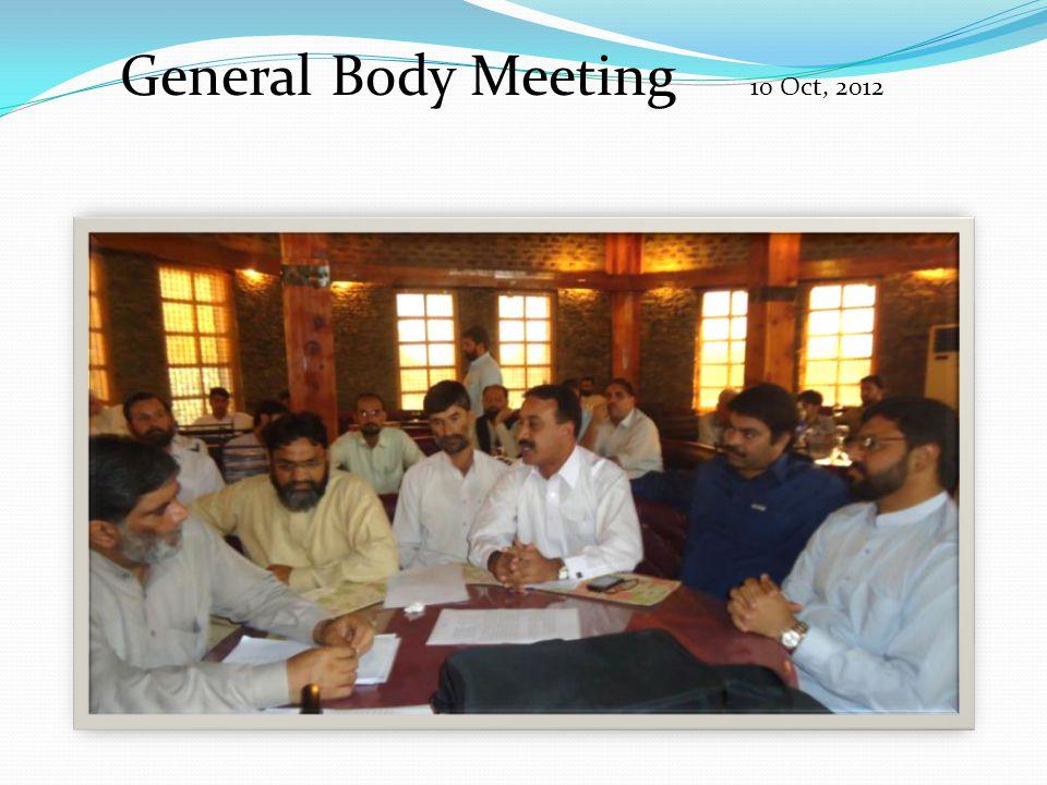 General Body Meeting 10 Oct, 2012