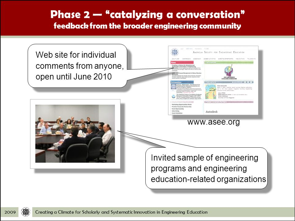 Creating a Climate for Scholarly and Systematic Innovation in Engineering Education2009 Phase 2 catalyzing a conversation feedback from the broader engineering community   Web site for individual comments from anyone, open until June 2010 Invited sample of engineering programs and engineering education-related organizations
