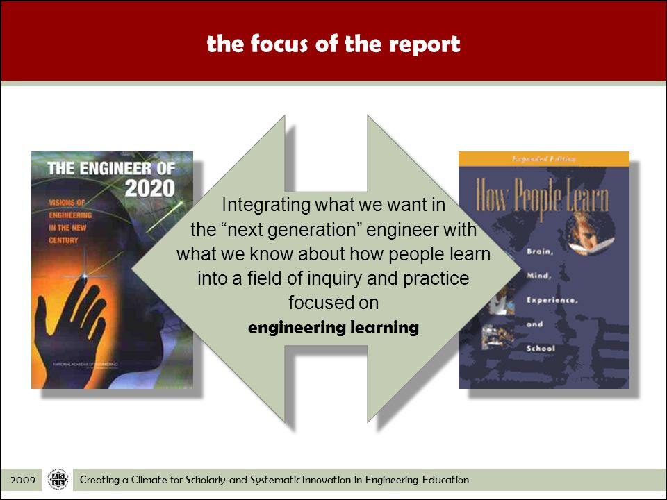 Creating a Climate for Scholarly and Systematic Innovation in Engineering Education2009 the focus of the report Integrating what we want in the next generation engineer with what we know about how people learn into a field of inquiry and practice focused on engineering learning