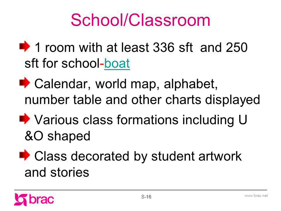 www.brac.net School/Classroom 1 room with at least 336 sft and 250 sft for school-boatboat Calendar, world map, alphabet, number table and other chart