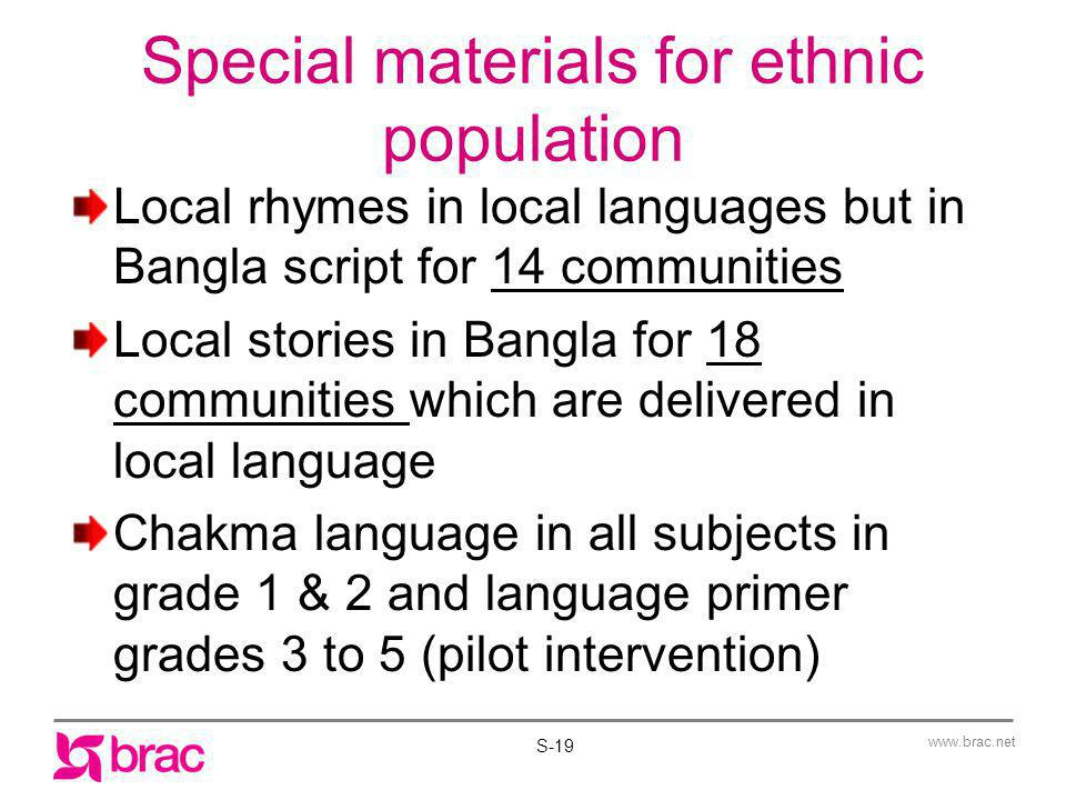 www.brac.net Special materials for ethnic population Local rhymes in local languages but in Bangla script for 14 communities Local stories in Bangla f