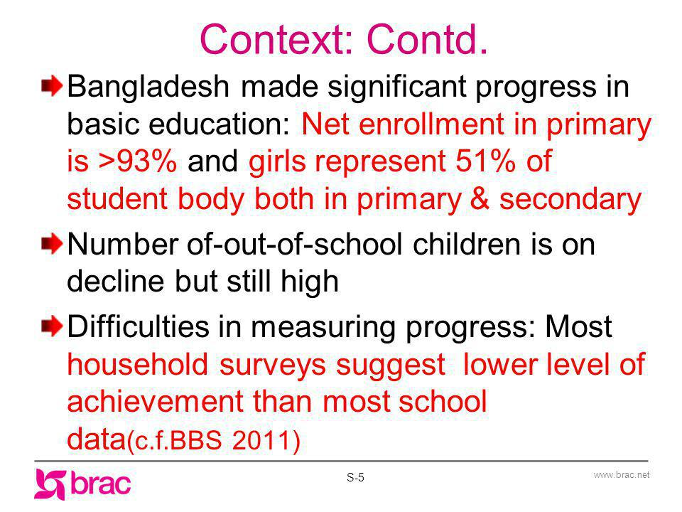 www.brac.net Context: Contd. Bangladesh made significant progress in basic education: Net enrollment in primary is >93% and girls represent 51% of stu