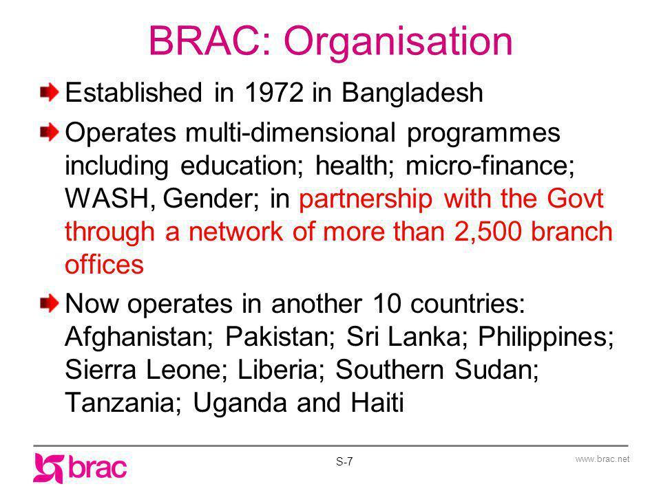 www.brac.net BRAC Education: Bangladesh Pre-Primary Schools Primary Schools Adolescent Development Programme Support to Mainstream Rural Secondary Schools Multipurpose Community Learning Centres S-8