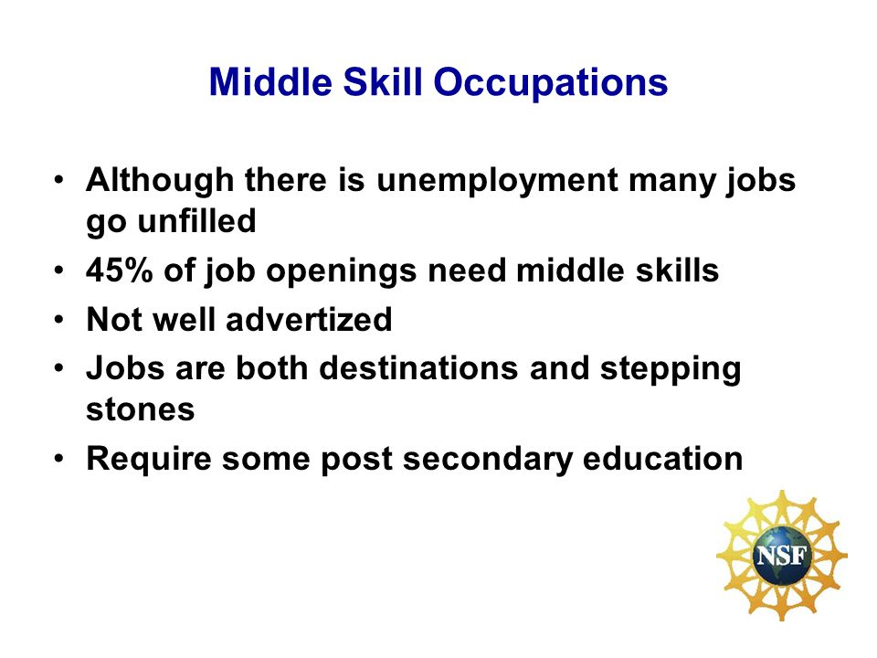 Middle Skill Occupations Although there is unemployment many jobs go unfilled 45% of job openings need middle skills Not well advertized Jobs are both destinations and stepping stones Require some post secondary education