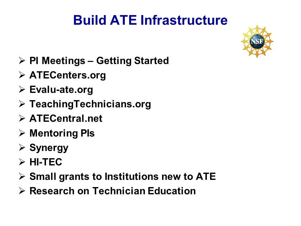 Build ATE Infrastructure PI Meetings – Getting Started ATECenters.org Evalu-ate.org TeachingTechnicians.org ATECentral.net Mentoring PIs Synergy HI-TEC Small grants to Institutions new to ATE Research on Technician Education