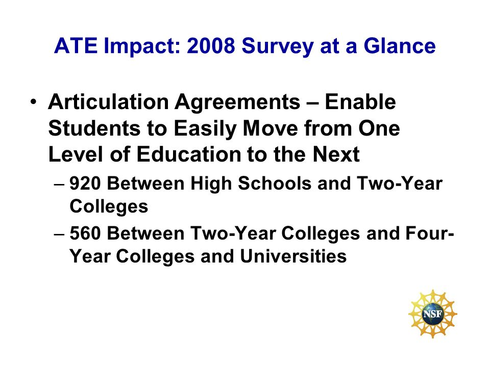 ATE Impact: 2008 Survey at a Glance Articulation Agreements – Enable Students to Easily Move from One Level of Education to the Next –920 Between High Schools and Two-Year Colleges –560 Between Two-Year Colleges and Four- Year Colleges and Universities