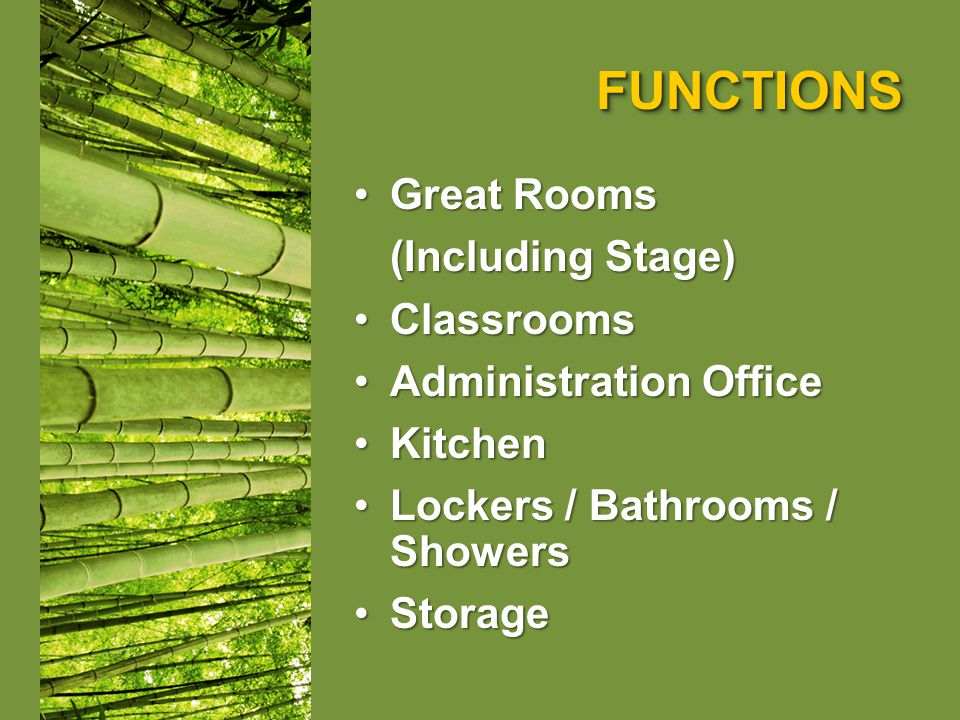 FUNCTIONSFUNCTIONS Great RoomsGreat Rooms (Including Stage) ClassroomsClassrooms Administration OfficeAdministration Office KitchenKitchen Lockers / Bathrooms / ShowersLockers / Bathrooms / Showers StorageStorage