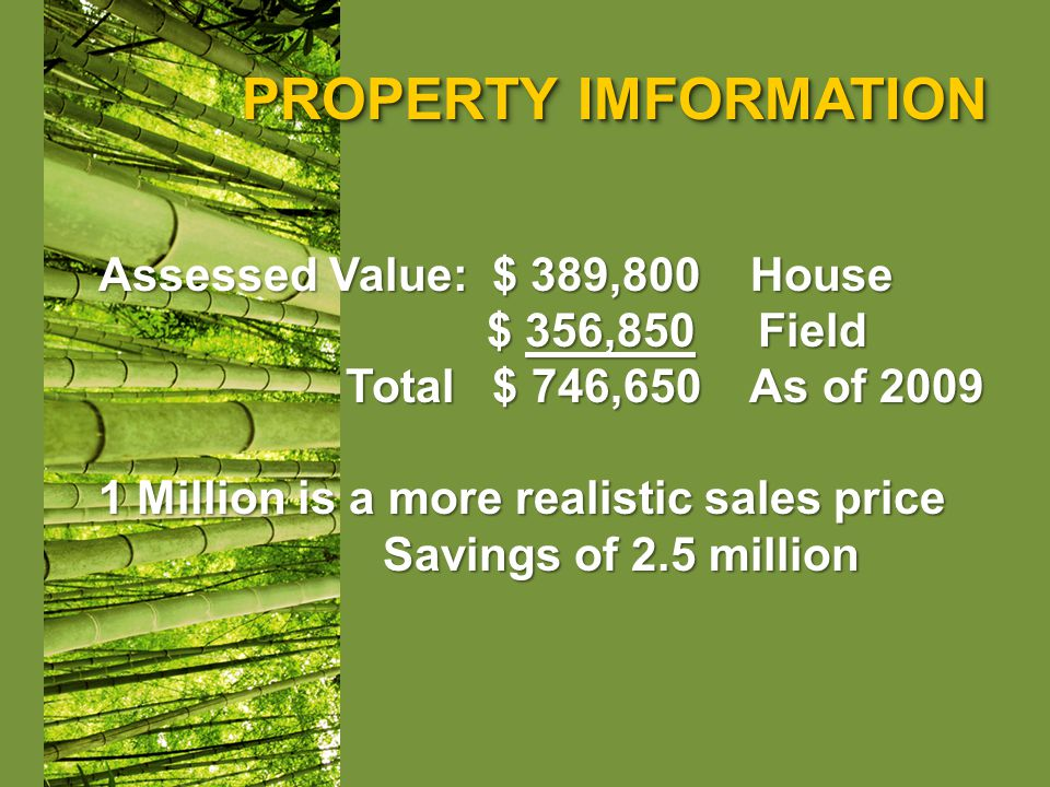 PROPERTY IMFORMATION Assessed Value: $ 389,800 House $ 356,850 Field $ 356,850 Field Total $ 746,650 As of 2009 Total $ 746,650 As of 2009 1 Million is a more realistic sales price Savings of 2.5 million Savings of 2.5 million