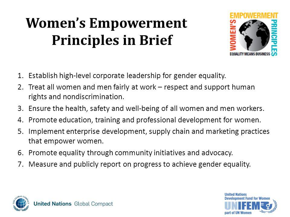 1.Establish high-level corporate leadership for gender equality.