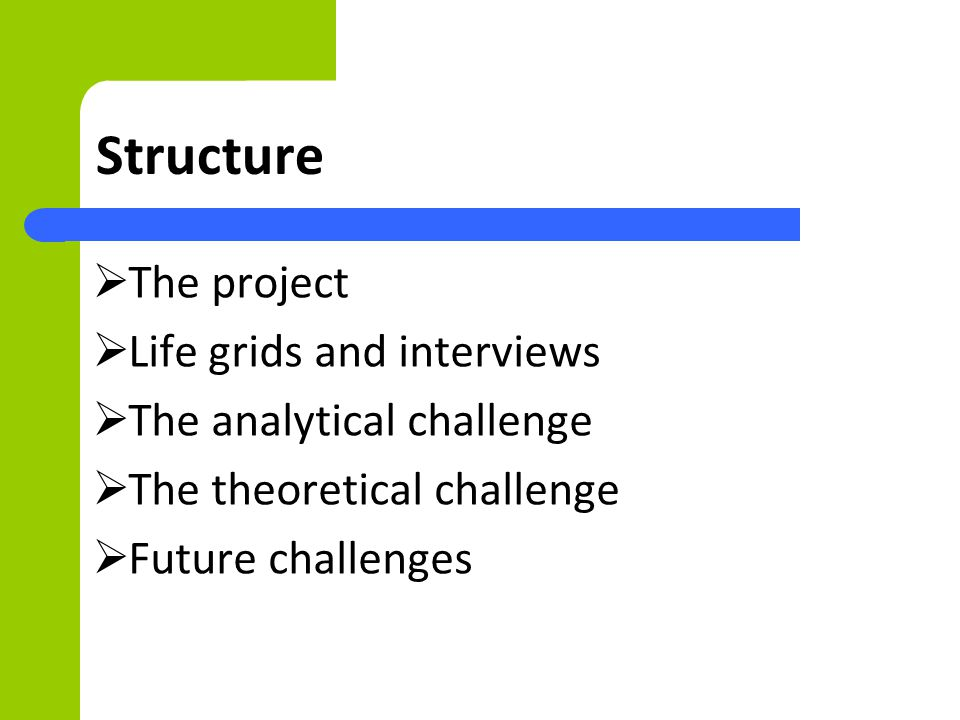 Structure The project Life grids and interviews The analytical challenge The theoretical challenge Future challenges