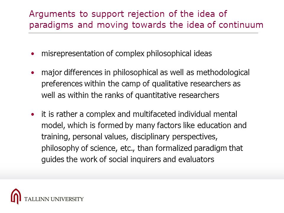 Arguments to support rejection of the idea of paradigms and moving towards the idea of continuum misrepresentation of complex philosophical ideas majo