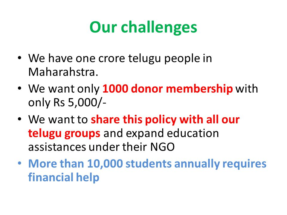 We have one crore telugu people in Maharahstra.