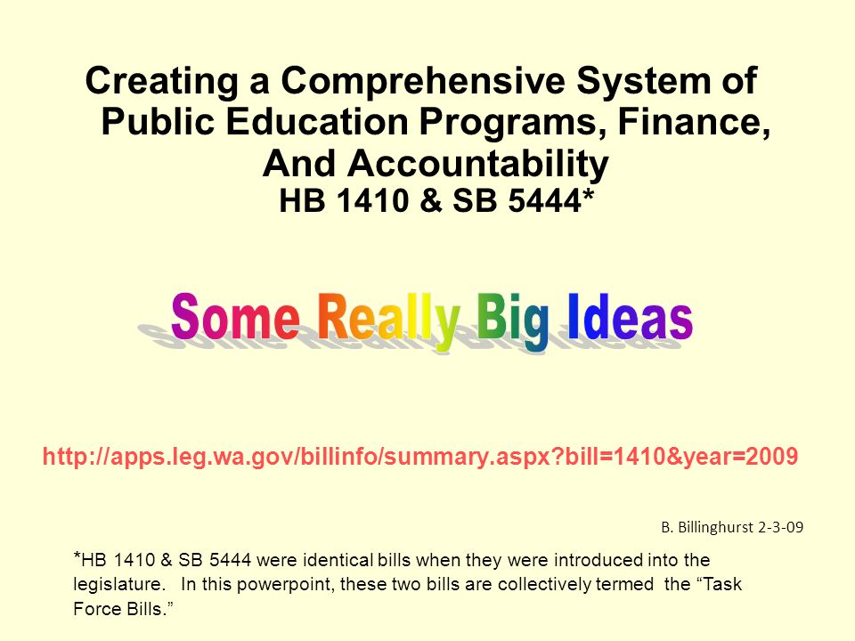 Creating a Comprehensive System of Public Education Programs, Finance, And Accountability HB 1410 & SB 5444* http://apps.leg.wa.gov/billinfo/summary.aspx bill=1410&year=2009 B.
