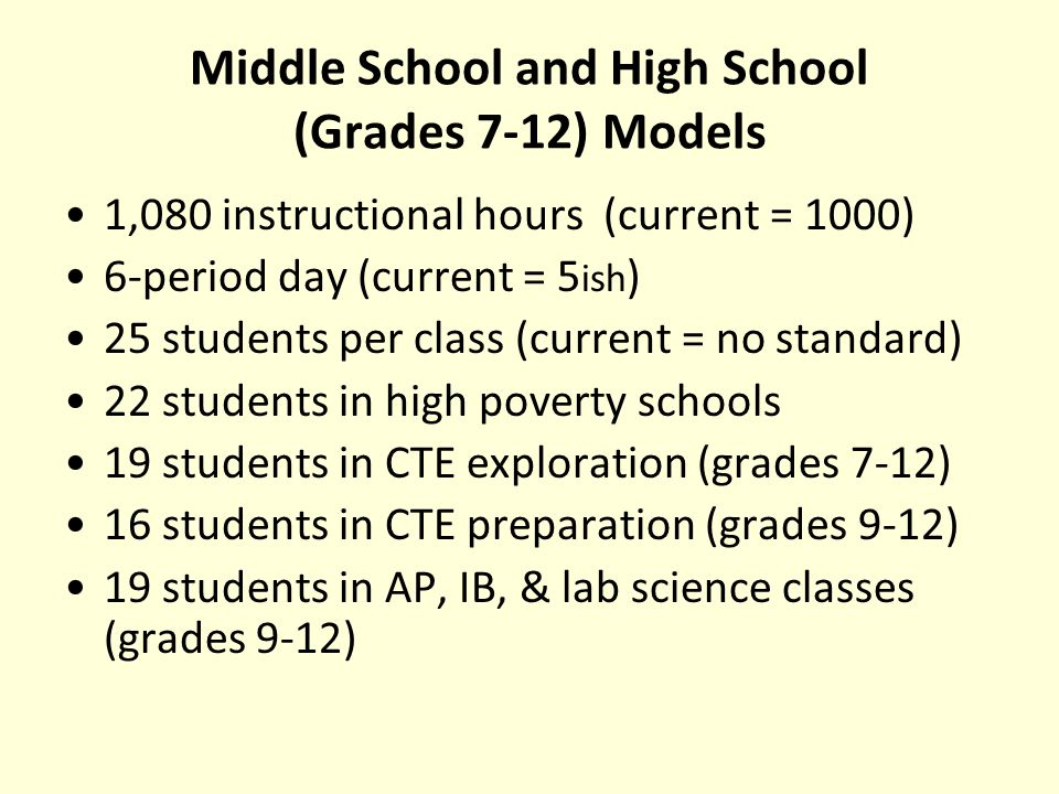 Middle School and High School (Grades 7-12) Models 1,080 instructional hours (current = 1000) 6-period day (current = 5 ish ) 25 students per class (current = no standard) 22 students in high poverty schools 19 students in CTE exploration (grades 7-12) 16 students in CTE preparation (grades 9-12) 19 students in AP, IB, & lab science classes (grades 9-12)