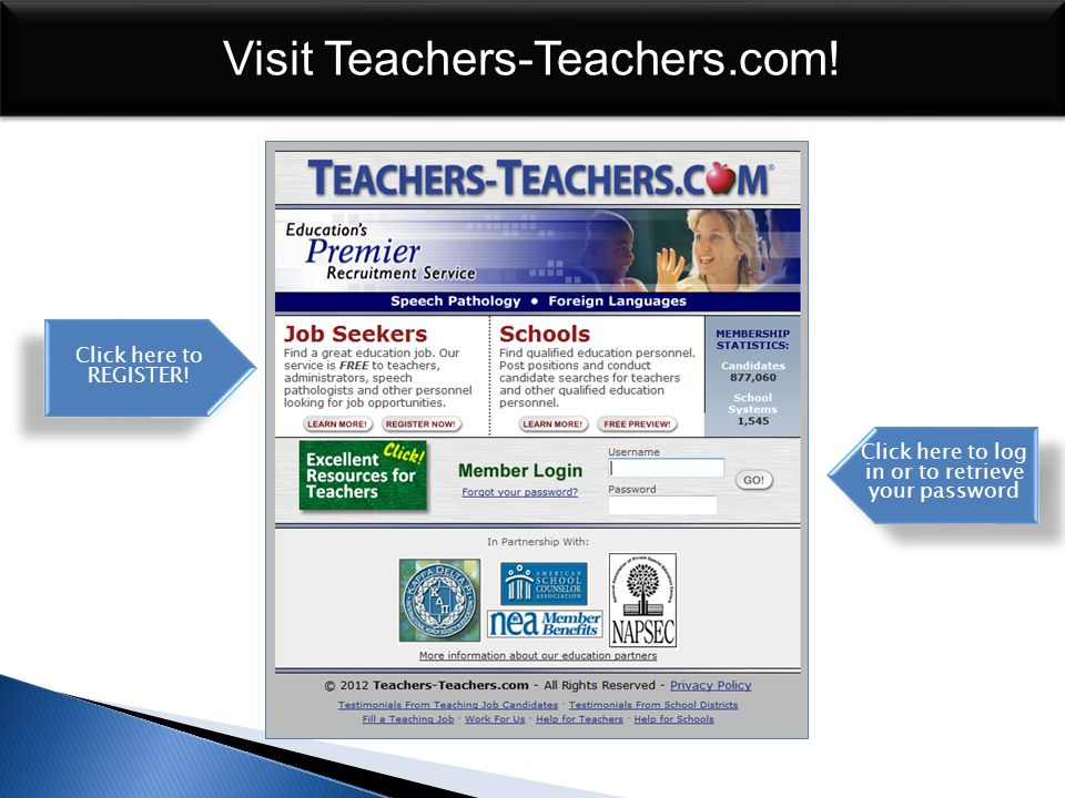 Visit Teachers-Teachers.com. Over 760,000 members and growing.