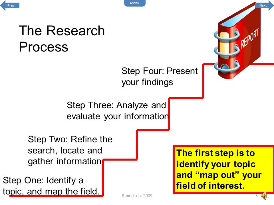 The Research Process Step One: Identify a topic, and map the field..