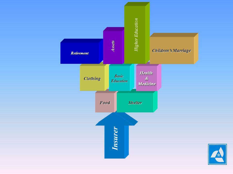 Insurer HeadOfFamily EARNINGCAPABILITY FoodShelter ClothingBasicEducationHealth&Medicine Retirement Assets Higher Education Childrens Marriage