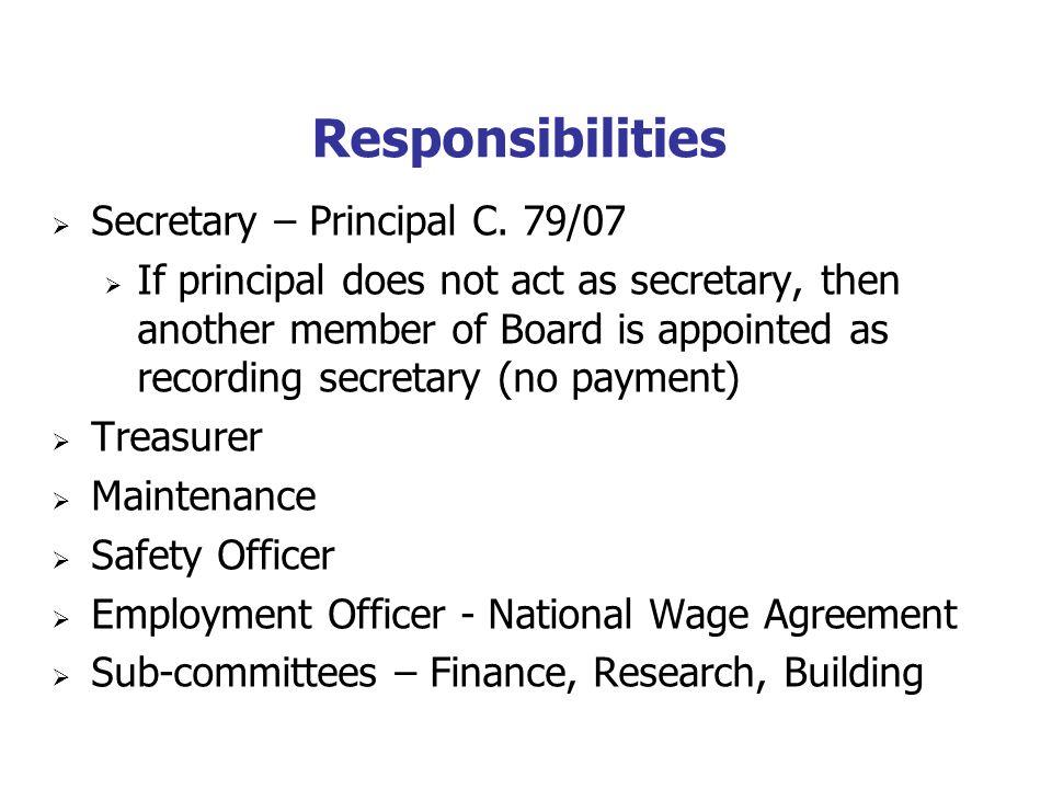 Responsibilities Secretary – Principal C.