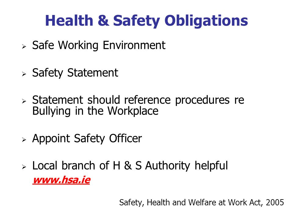 Health & Safety Obligations Safe Working Environment Safety Statement Statement should reference procedures re Bullying in the Workplace Appoint Safety Officer Local branch of H & S Authority helpful www.hsa.ie Safety, Health and Welfare at Work Act, 2005