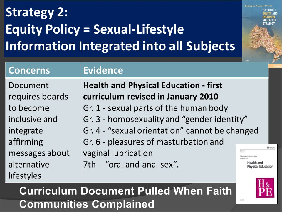 Strategy 2: Equity Policy = Sexual-Lifestyle Information Integrated into all Subjects ConcernsEvidence Document requires boards to become inclusive and integrate affirming messages about alternative lifestyles Health and Physical Education - first curriculum revised in January 2010 Gr.