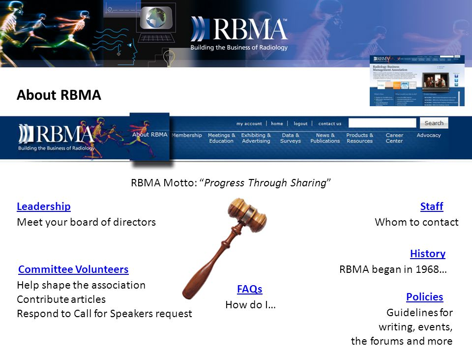 Some web pages are for Members Only As an RBMA member you have access to resources not available to the public.