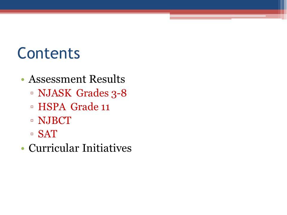 Contents Assessment Results NJASK Grades 3-8 HSPA Grade 11 NJBCT SAT Curricular Initiatives