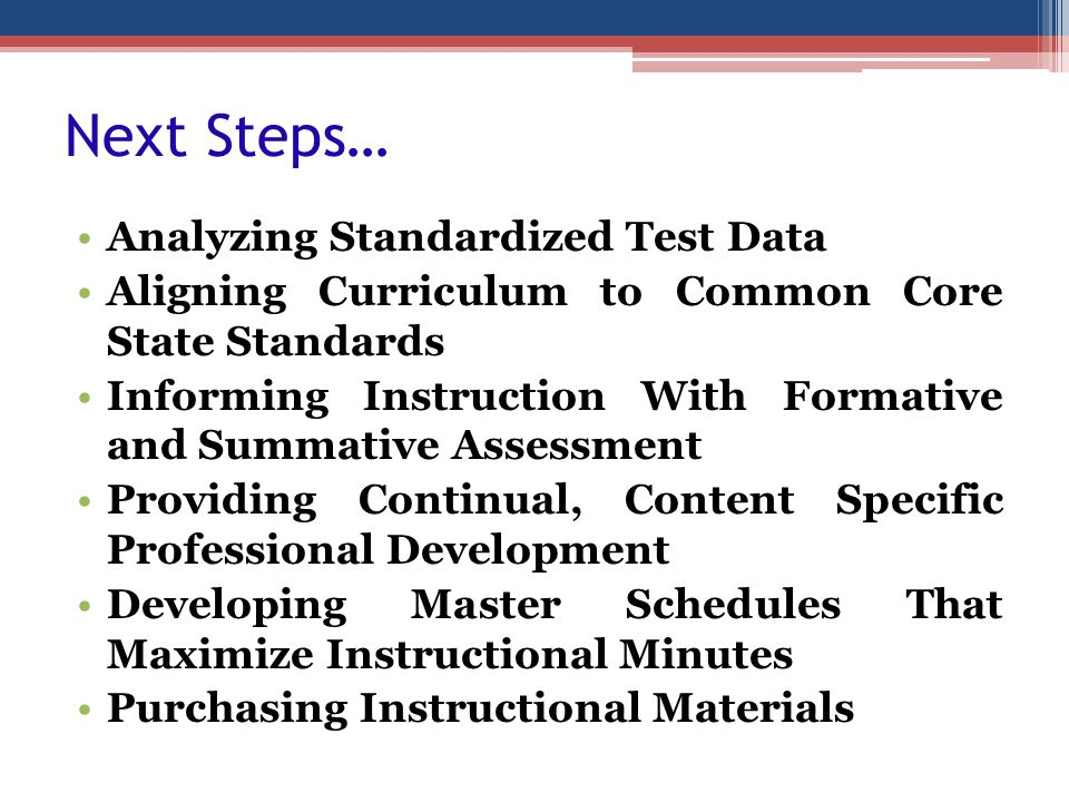 Next Steps… Analyzing Standardized Test Data Aligning Curriculum to Common Core State Standards Informing Instruction With Formative and Summative Ass