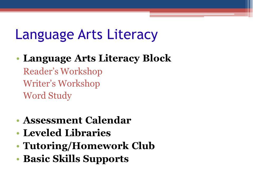 Language Arts Literacy Language Arts Literacy Block Readers Workshop Writers Workshop Word Study Assessment Calendar Leveled Libraries Tutoring/Homewo