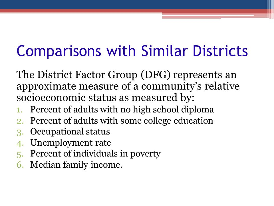 Comparisons with Similar Districts The District Factor Group (DFG) represents an approximate measure of a communitys relative socioeconomic status as