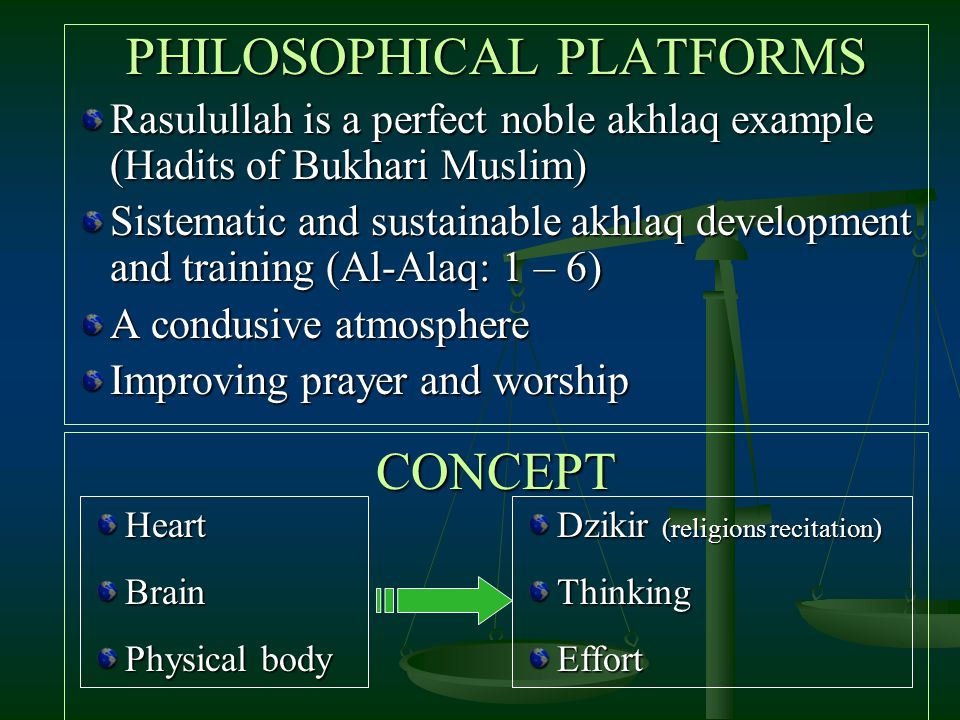 PHILOSOPHICAL PLATFORMS Rasulullah is a perfect noble akhlaq example (Hadits of Bukhari Muslim) Sistematic and sustainable akhlaq development and trai