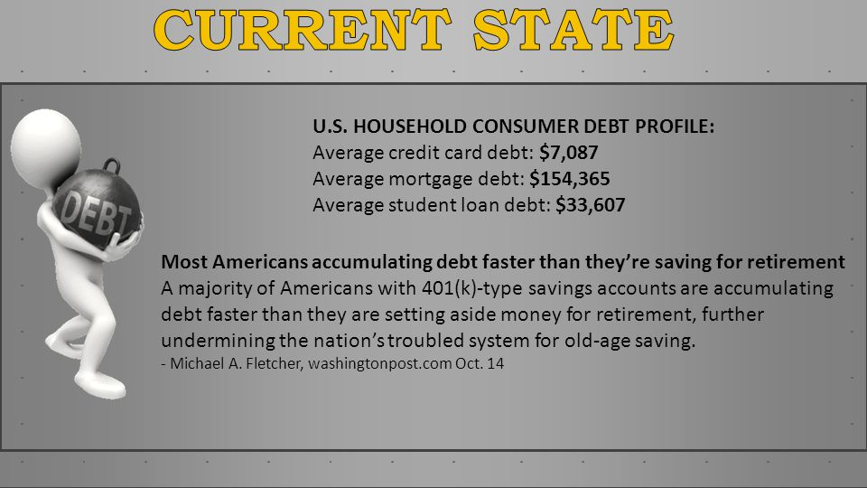 Most Americans accumulating debt faster than theyre saving for retirement A majority of Americans with 401(k)-type savings accounts are accumulating d