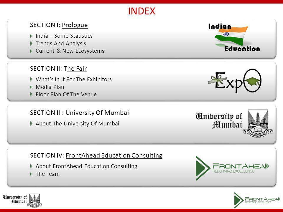 INDEX Indian Education SECTION I: Prologue India – Some Statistics Trends And Analysis Current & New Ecosystems SECTION II: The Fair Whats In It For The Exhibitors Media Plan Floor Plan Of The Venue SECTION IV: FrontAhead Education Consulting About FrontAhead Education Consulting The Team E xp SECTION III: University Of Mumbai About The University Of Mumbai