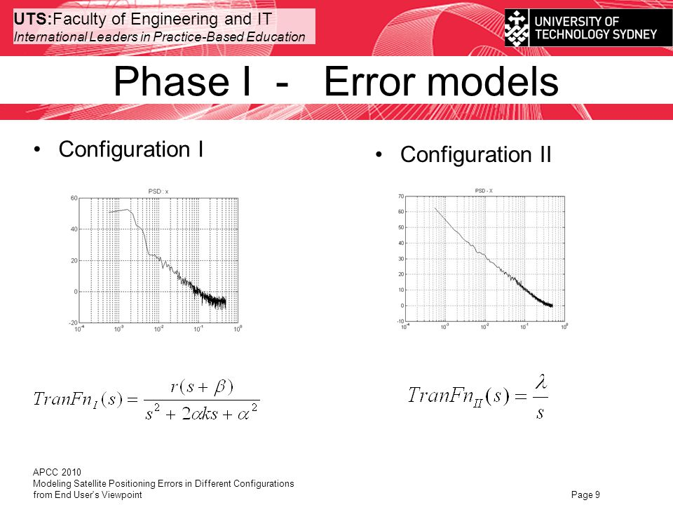 UTS:Faculty of Engineering and IT International Leaders in Practice-Based Education Phase II – de-correlation APCC 2010 Modeling Satellite Positioning Errors in Different Configurations from End User s Viewpoint Page 10 Aiding sensor – inertial measurement sensors Integrated positioning system Shaping filter Configuration I