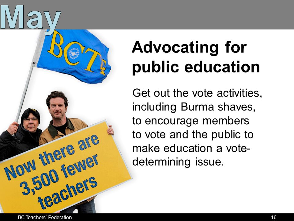Advocating for public education Get out the vote activities, including Burma shaves, to encourage members to vote and the public to make education a vote- determining issue.