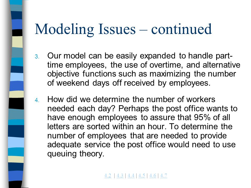 4.24.2 | 4.3 | 4.4 | 4.5 | 4.6 | 4.74.34.44.54.64.7 Modeling Issues – continued 3. Our model can be easily expanded to handle part- time employees, th