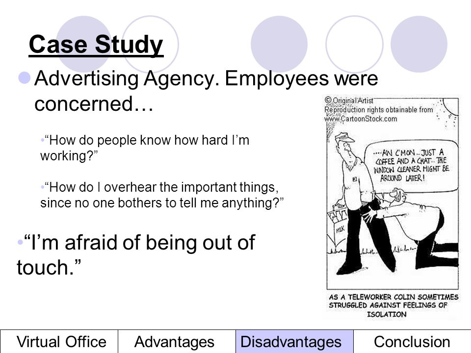 Case Study Advertising Agency. Employees were concerned… AdvantagesVirtual OfficeDisadvantagesConclusion How do people know how hard Im working? How d