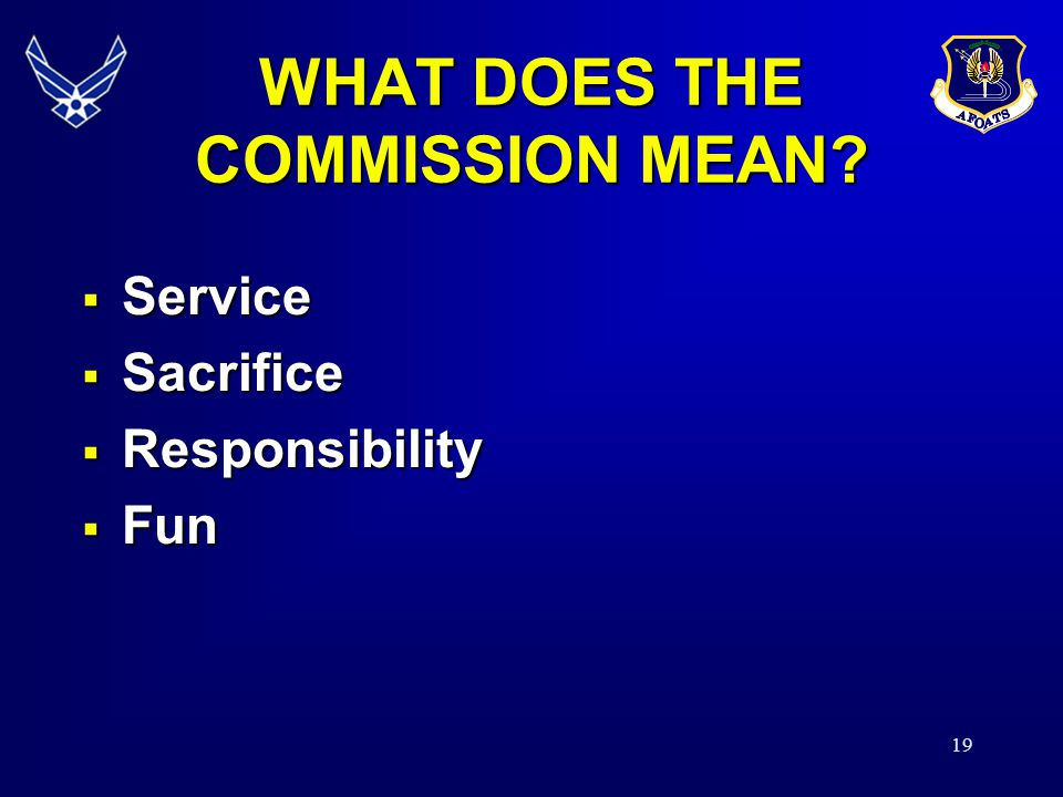 19 WHAT DOES THE COMMISSION MEAN.