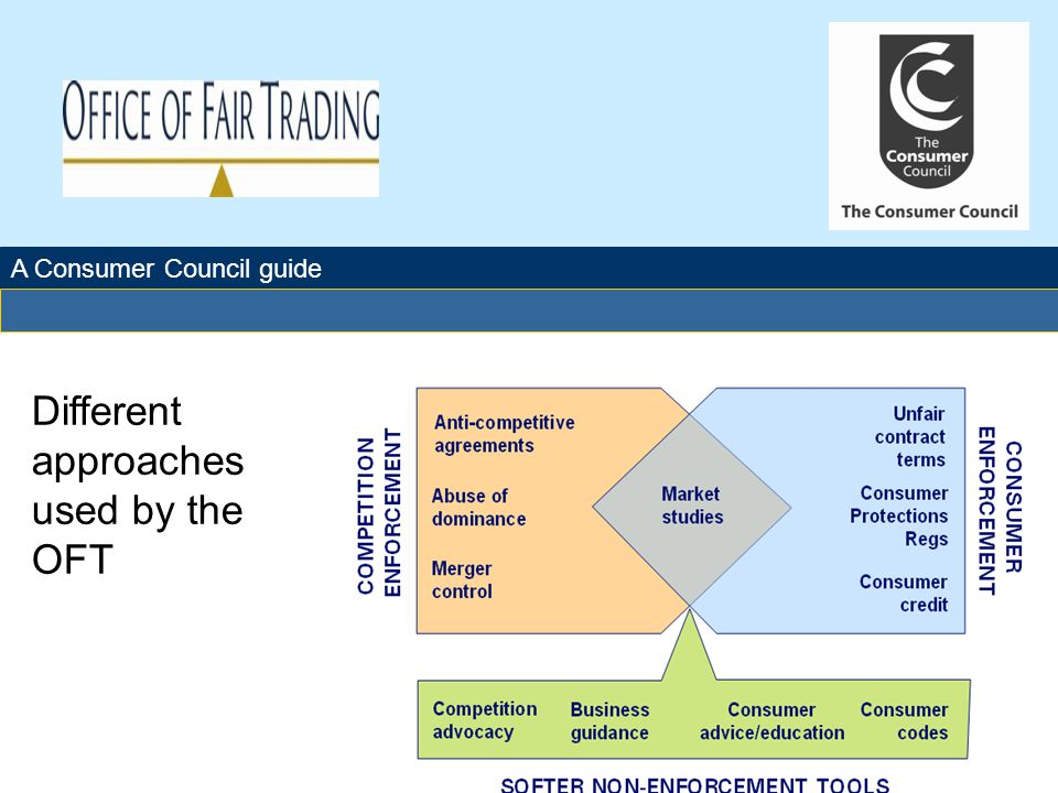 A Consumer Council guide Glossary: CPRs - Consumer Protection Regulations UTCCRs - Unfair Terms in Consumer Contract Regulations AMLD – Anti-money laundering directive EA02 – Enterprise Act 2002 This diagram highlights which tools are available to OFT when addressing a variety of market failures.
