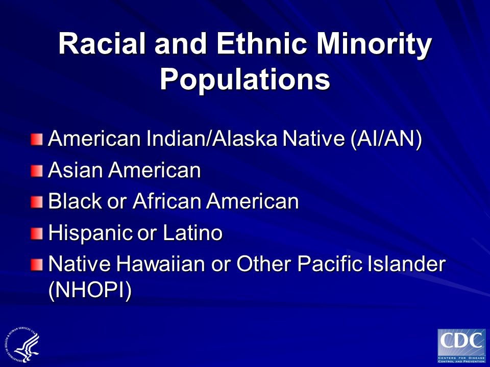 Racial and Ethnic Minority Populations American Indian/Alaska Native (AI/AN) Asian American Black or African American Hispanic or Latino Native Hawaii