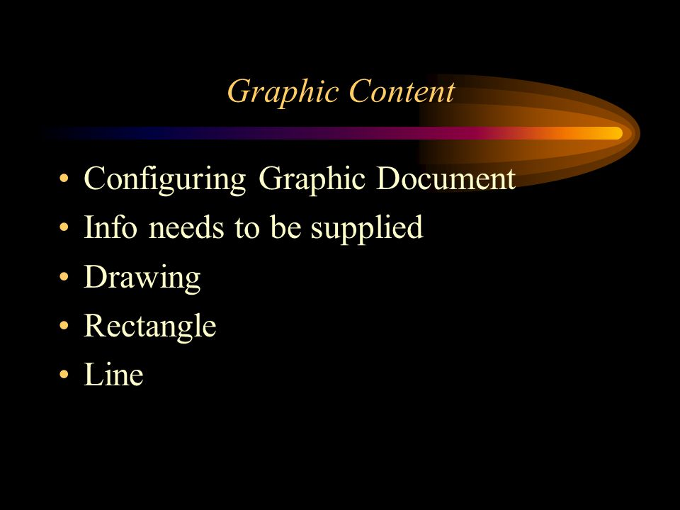 Graphic Content Configuring Graphic Document Info needs to be supplied Drawing Rectangle Line