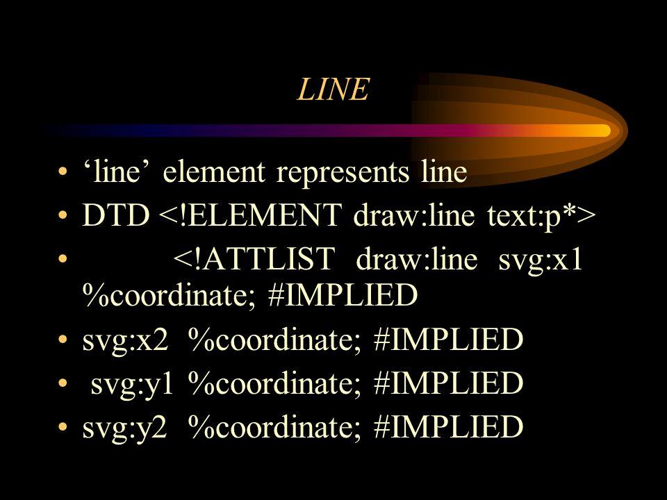 LINE line element represents line DTD <!ATTLIST draw:line svg:x1 %coordinate; #IMPLIED svg:x2 %coordinate; #IMPLIED svg:y1 %coordinate; #IMPLIED svg:y2 %coordinate; #IMPLIED