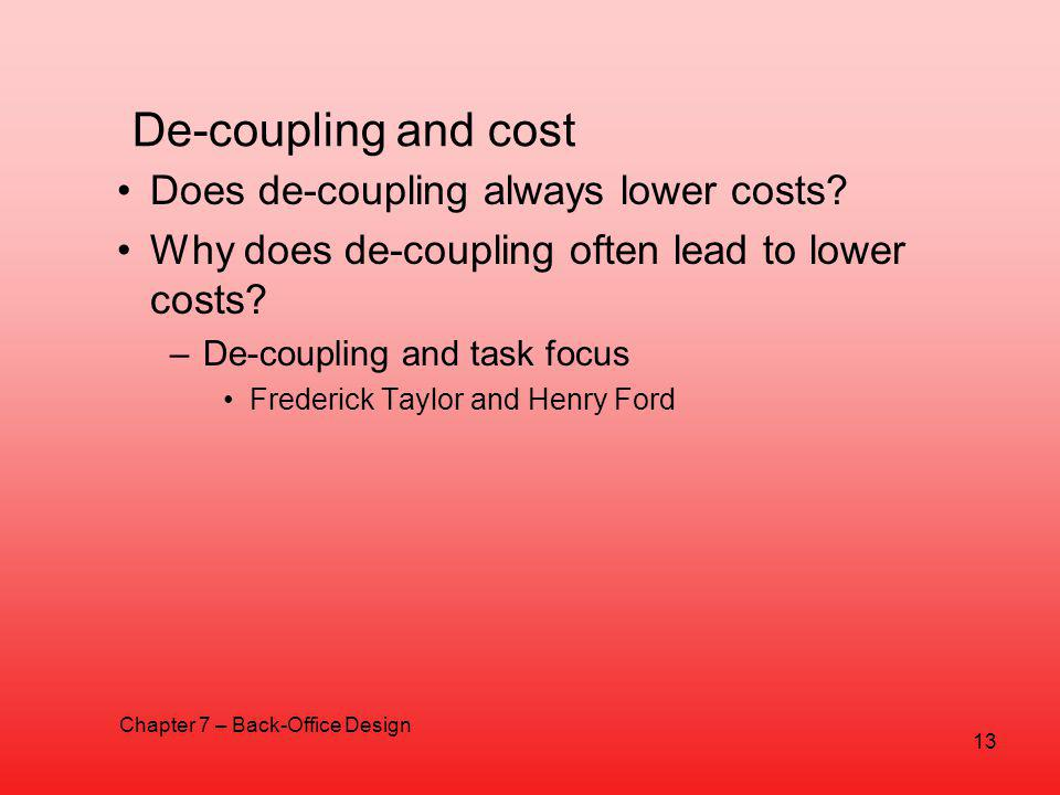 De-coupling and cost Does de-coupling always lower costs.