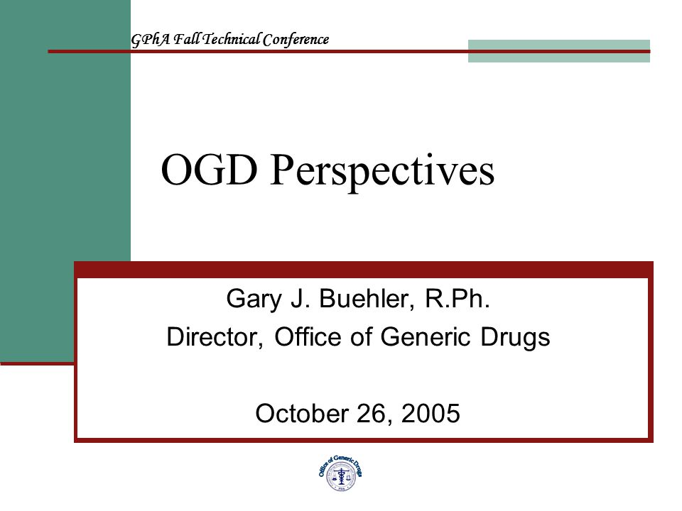 FDA/GPhA Fall Technical Conference12 CDER Offices at White Oak Office of Pharmaceutical Science (except OGD) Office of Counter Terrorism and Pediatric Drug Development Office of Clinical Pharmacology and Biopharmaceutics Office of New Drugs Office of Medical Policy (including DDMAC) Office Pharmacoepidemiology and Statistical Science
