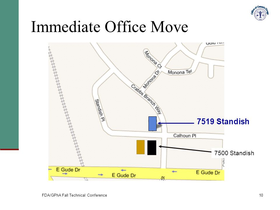 FDA/GPhA Fall Technical Conference10 Immediate Office Move 7519 Standish 7500 Standish