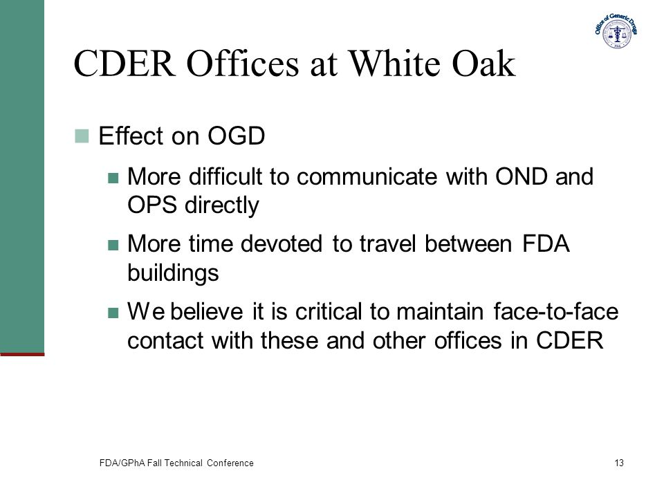 FDA/GPhA Fall Technical Conference13 CDER Offices at White Oak Effect on OGD More difficult to communicate with OND and OPS directly More time devoted