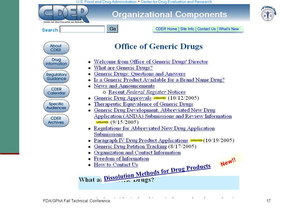 FDA/GPhA Fall Technical Conference17 Dissolution Methods for Drug Products New!!
