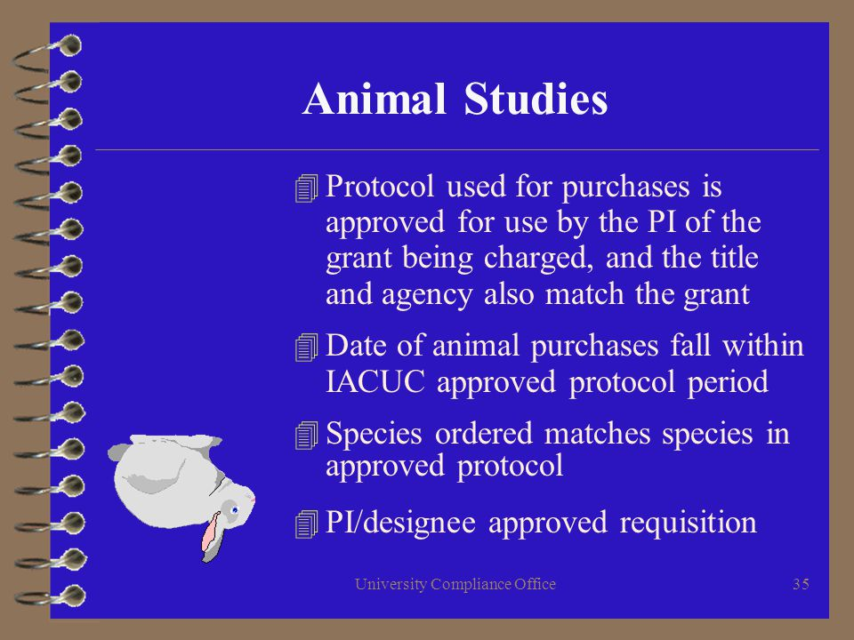 University Compliance Office35 Animal Studies 4 Protocol used for purchases is approved for use by the PI of the grant being charged, and the title and agency also match the grant 4 Date of animal purchases fall within IACUC approved protocol period 4 Species ordered matches species in approved protocol 4 PI/designee approved requisition