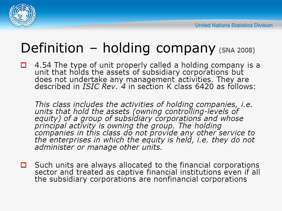 Classification SNA makes a distinction based on the type of subsidiaries This is only for classification to institutional sectors .